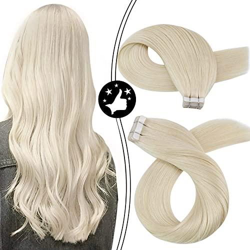 Moresoo Platinum Blonde Hair Extensions Tape ins...