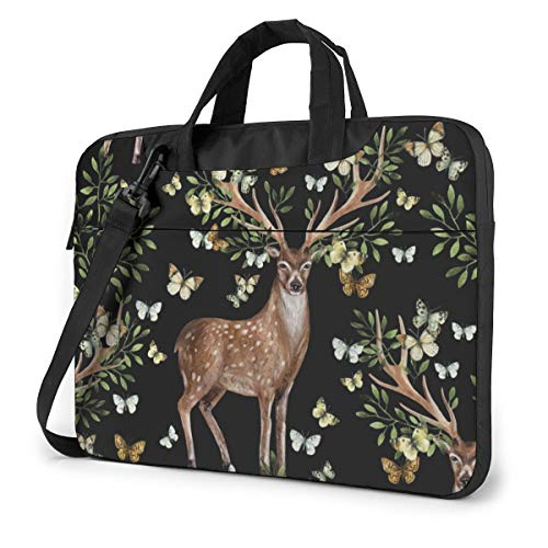 Deer Antlers with Leafs 13in Laptop Case Bag Sleeve Carrying Protective Case Messenger Briefcase Computer Bag for Women Men Travel