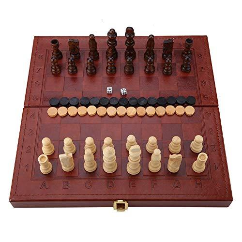 チェスセット 3-in-1 チェス/チェッカー/バックギャモン 木製 ポータブル 折りたたみチェスボード 旅行チェスセット ボードゲーム 教育玩具 脳トレーニング おもちゃ 卓上子供と大人 ギフト