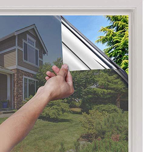 rabbitgoo Spiegelfolie Fensterfolie Selbsthaftend Sichtschutzfolie Sonnenschutz Tönungsfolie Hitzeschutz Reflektierend Spionfolie Verspiegelungsfolie Wärmeisolierung UV-Schutz Einweg 90 * 200 cm