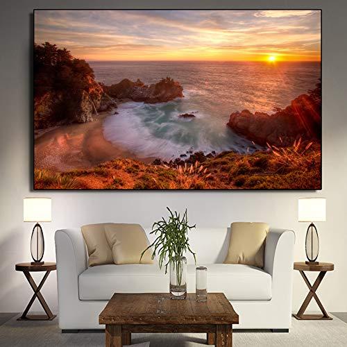 zgwxp77 Sunset Beach Landschaft Leinwand Malerei Wand Wohnzimmer Poster und Druck