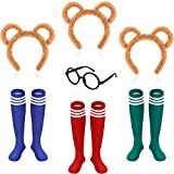7 Pieces Chipmunks Costumes Set Include 3 Pieces Chipmunk Ears Headband 3 Pairs Knee-High Socks and 1 Piece Black Round Frame Glasses Animal Costume Accessories for Adults Teens Halloween Party
