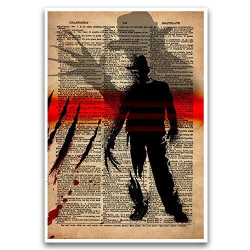 Horror art, Freddy Krueger Nightmare on Elm Street artwork, creepy movie art