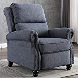 CANMOV Recliner Chair Manual Arm Chair Push Back Recliner with Rivet Decoration Accent Chair for Living Room, Bedroom, Home Office, Navy