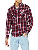 Lee Regular Shirt Camisa, Core Red, M para Hombre