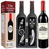 RERXN Weinflasche geformt Weinzubehör Geschenkset,Weinöffner Set Beinhaltet Weinkorkenzieher,Weinverschlüsse,Weinausgießer (Bottle 03)