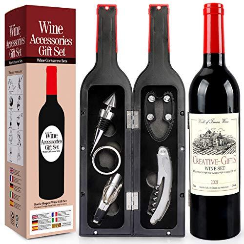 RERXN Set di Accessori da Vino a Forma di Bottiglia di Vino,Accessori per Il Vino Include cavatappi,Tappo per Vino,versatore per Vino (Bottle 03)