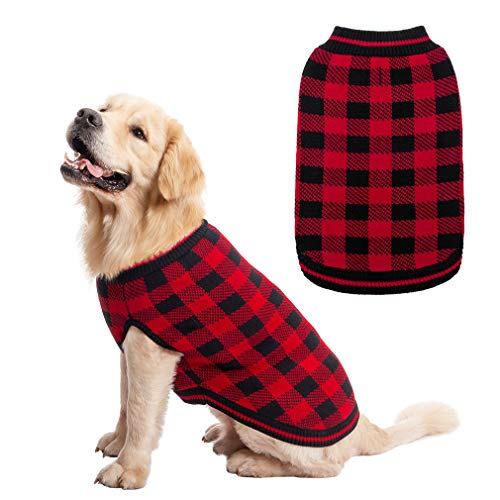 Plaid Dog Sweater Winter Clothes - Knitwear Soft Baseball Shirt Design for Small Medium Large Dogs Cold Days Wearing