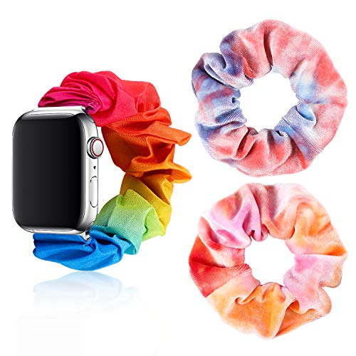 Tie-dye Scrunchie Elastic Watch Band for 38 40mm Apple Watch Compatible with iWatch Series 1/2/3/4/5 with 2 Pcs Tie-dye Velvet Scrunchies Hair Elastic Ties Ponytail Holder for Women Lady