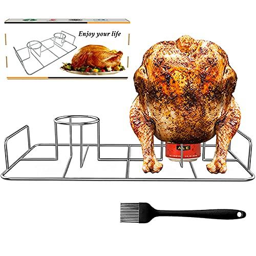 GugnRyAc Doble asador de pollo de acero inoxidable – Soporte para pollo con cepillo de aceite de silicona – Lata de cerveza para barbacoa de pollo, soporte para parrilla para el horno – 2 pollos.