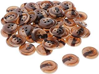 AI LI WEI 50 botões de resina, 4 furos, botões de costura para artesanato DIY - 18 mm