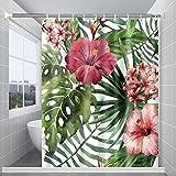 Huryfox Duschvorhang, Wasserdichter Duschvorhänge, Waschbar Stoff Badezimmer Vorhang mit 12 Duschvorhängeringen für Badewanne Badeküche (rote Blume, 72x72 Zoll)