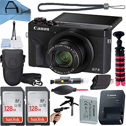Canon PowerShot G7X Mark III Digital Camera 20.1MP Sensor with 2 Pack SanDisk 128GB Memory Card, Case, Tripod and A-Cell Accessory Bundle (Black)