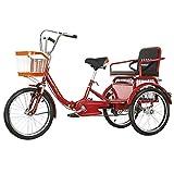 SN Dreirad Für Erwachsene 1 Geschwindigkeit Trike 20in 3-Rad Zum Einkaufen Fahrrad Go Carts Für Erwachsene, Familien-Frühlingsausflug Zu Fuß Für Hausfrau Stadt Straße (Color : Red)