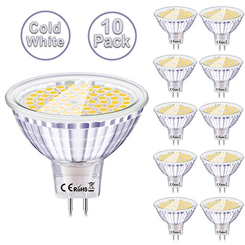Eofiti GU5.3 MR16 LED Kaltweiss 10er MR16 Led 12V GU5.3 6000K 6W Ersatz für 50W 35W Halogen Lampe AC DC12V Kein Stroboskopeffekt GX5.3 Hohe CRI 83 Ra 540lm Hell Leuchtmittel 120°Abstrahwinkel Spot