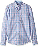 IZOD Men's Slim Fit Button Down Long Sleeve Stretch Performance Plaid Shirt, Candy Pink, X-Large Slim