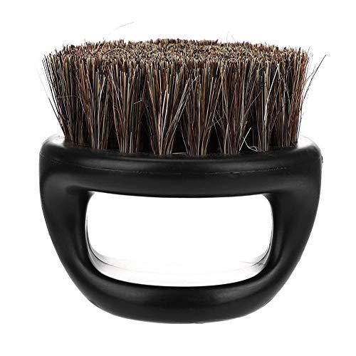 Jinxuny Taschen-Bartbürste, Bartbürste für Herren, Wildschweinfell-Rasierpinsel für Herren, Bartschnurrbart Trimmbürste Salon Rasierwerkzeug 02#Black Brush Hair+Black Handle