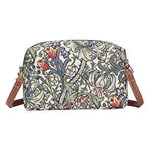 Signare Tapestry Small Crossbody Bag for Women pouch Bag with Floral and Garden Design (Golden Lilly, HPBG-GLILY)