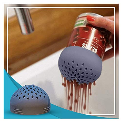 Multi-use Mini Silicone Can Colander, Micro Silicone Colander, Save Water Designed Makes Cooking Fast, Clean and Efficient,Snap On Strainer for Pasta, Meat, Vegetables, Fruit (Gray)