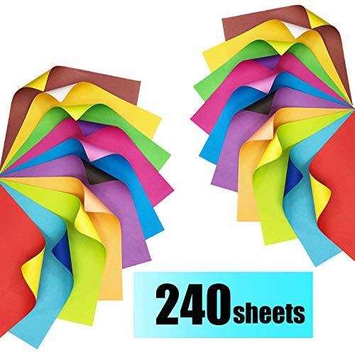 BD.Y Papel Origami 240 Hojas Papel de Color de Doble Cara Papel de Arte de 15x15 cm para Manualidades de Bricolaje Origami de Color de Dos Colores a Doble Cara