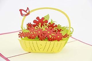 BC Worldwide Ltd Biglietto pop-up 3D fatto a mano Cesto di farfalle di fiori, Compleanno, Festa della mamma, Grazie, Guari...