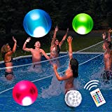 """Pool Toys 16"""" Glow in Dark LED Beach Ball Toy, 16 Color Changing Floating Pool Lights, Outdoor Pool Beach Glow Party Games and Decorations (1PC)"""