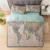 Juego de funda de edredón de 3 piezas, diseño de mapas del mundo, diseño de mapas del mundo, reversible, moderno, suave, elegante, ropa de cama para mujeres, hombres, adolescentes
