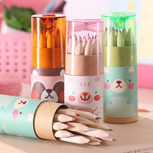 Mziart Cute Cartoon Bear Mini Drawing Colored Pencils with Sharpener, 3.5' Length, Portable, 12 Count in Tube (Pack of 3)