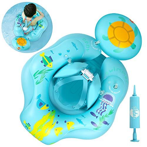 VATOS Schwimmring Baby, Aufblasbare Kleinkind Schwimmhilfen Wasserspielzeug mit Pumpe, Perfekt Baby Schwimmring Schwimmtrainer Für Kinder Von 6-30 Monaten