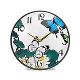 ART VVIES Reloj de Pared Redondo de 9,5 Pulgadas Que no Hace tictac silencioso Funciona con Pilas Oficina Cocina Dormitorio decoración del hogar-Mariposa y Loto