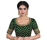 Xomantic Fashion Wine Color Satin Silk Embroidered Work Readymade Saree Blouse (Free Size, Green)