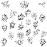Ezing Lot 24pc Shining Rhinestone Crystal Brooches Pins DIY Wedding Bouquet Kit (A)