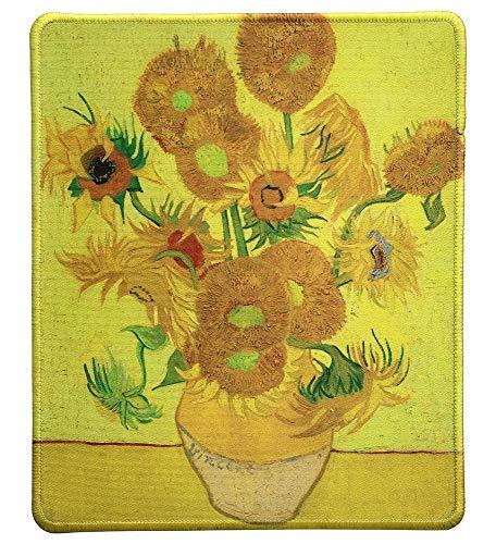 Art Mousepad - Naturkautschuk-Mauspad mit berühmtem Gemälde von Sonnenblumen von Vincent Van Gogh - Genähte Kanten