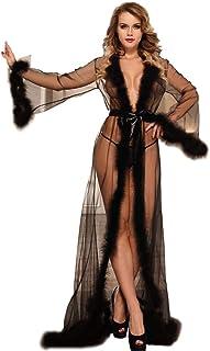 MEN.CLOTHING-LEE Lingerie Sexy Lingerie di Grandi Dimensioni Piume di Peluche Sexy Camicia da Notte A Maniche Lunghe A Fes...
