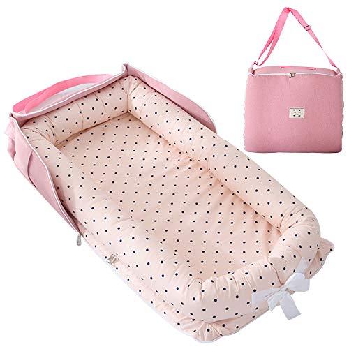 TEALP Tumbona para bebé con Almohadas, Nido Transpirable para Bebé Recién Nacido para Cosleeping, Capazo de Bebé, Punto Rosa