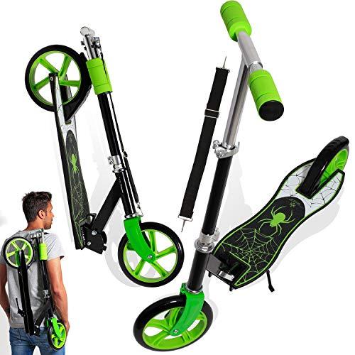 KESSER® Scooter Roller Kinderroller Cityroller Tretroller Kickroller Kickscooter, Design / Spider (Green)