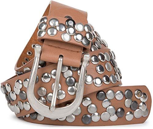 styleBREAKER Damen Nietengürtel im Vintage Style, Gürtel kürzbar, Synthetikgürtel, Gürtel, Damengürtel 03010008, Farbe:Rehbraun, Größe:90cm