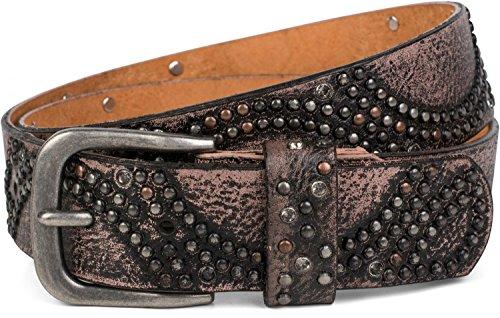 styleBREAKER cinturón de remaches «vintage» con estrás y remaches brillantes en disposición redonda, señora 03010066