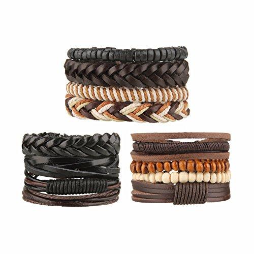 Beauty7 12 Pcs Pulseras Étnico Retro de Cuero Trenzadas Pulseras de Cuentas del Correa del Trenzado Brazalete Ajustable para Hombres Mujeres Leather Wristbands