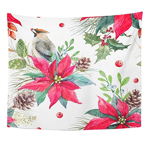 ShiHaiYunBai Tapestry Wall Hanging Watercolor Christmas Holiday Poinsettia Flowers Spruce Branches Cones Mistletoe 60' x 80' Home Decor Art Tapestries Bedroom Living Room Dorm Apartment