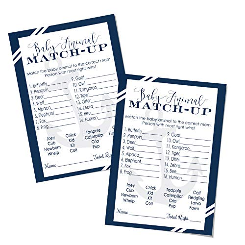 Nautical Animal Match Game Baby Shower (25 Pack) Guess Activity Cards - Kids Adults Groups