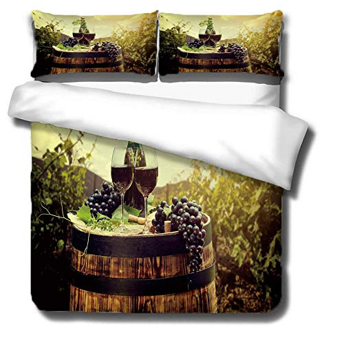ZLLBF Duvet Cover King Size 220x230cm Wine,Easy Care Anti-Allergic Soft & Smooth Design Bedding Set With 2 Pillowcases