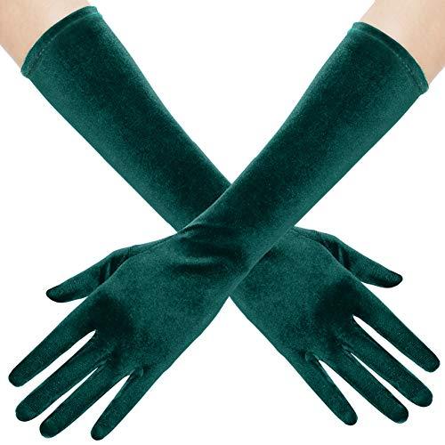 BABEYOND Guantes de terciopelo para mujer, largo/cortos, para fiestas, Audrey Hepburn, de los años 20 3-verde oscuro/38 cm Talla única