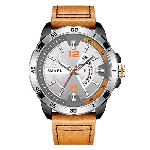 JTTM Reloj De Hombre Cronógrafo Analógico De Cuarzo Reloj De Pulsera Impermeable para Negocios con Correa De Cuero,Marrón