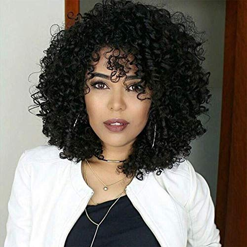 Curly Wigs for Black Women Afro Wig with Bangs Short Kinky Curly Synthetic Hair Wig Natural Daily Party Full Wigs for African American + 2 Wig Caps (Black)