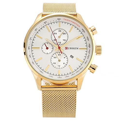 KDMB Reloj de Moda Curren 8227 Reloj de Pulsera con Fecha Informal analógico de Cuarzo Resistente al Agua para Hombre (Blanco)