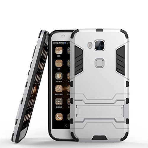 CHcase Huawei G8 Hülle,Huawei GX8 Hülle,Huawei G7 Plus Hülle, Shockproof Rüstung Hybrid 2 In1 TPU & PC Robuste Dual Layer mit Kickstand Case für Huawei G7 Plus -Sliver