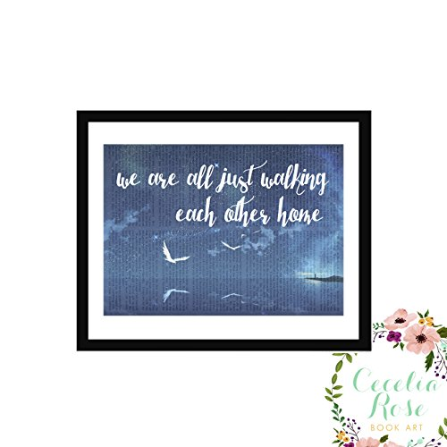 We Are All Just Walking Each Other Home Ram Dass Typography Farmhouse Inspirational Quote Vintage Book Page 6x8 Box Framed Art Print