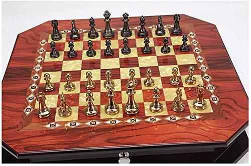 GYPPG Juego de ajedrez Tablero de ajedrez Metal Brillante Chapado en Oro Vintage Piezas de ajedrez Tablero de ajedrez de Madera Maciza Juegos de ajedrez Profesionales de Alto Grado Set d