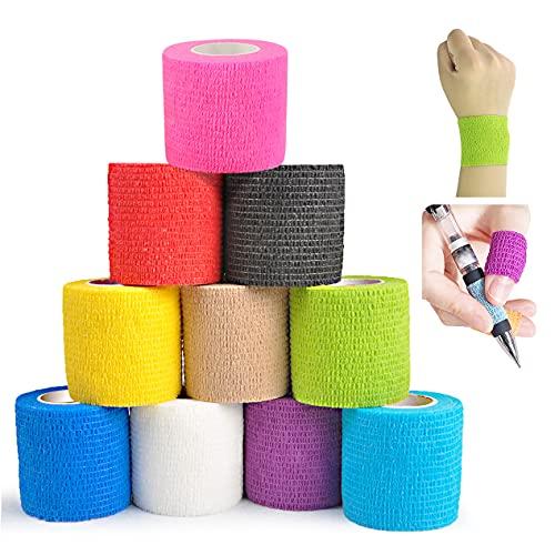 Viskoelastische Bandage (10 Rollen), weiche und bequeme selbstklebende Bandage Vlies Sportbandage, geeignet für Hände, Füße, Knie, Arme, 10 Farben 5cm x 4,5m